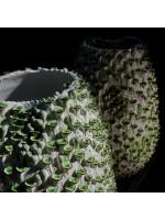 Kameninová váza - bílo-zelená L