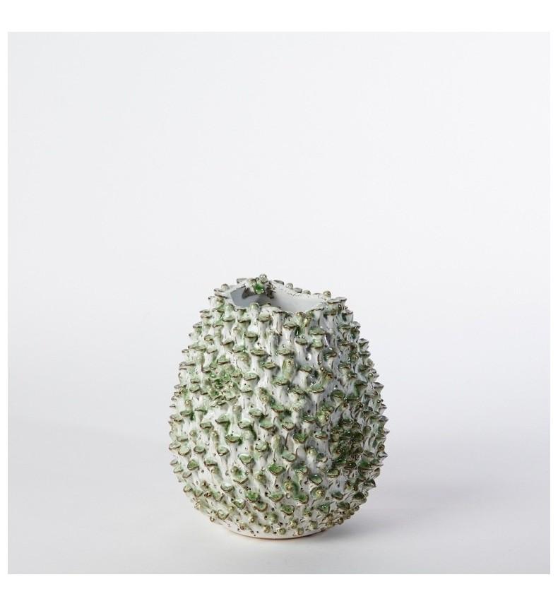 Kameninová váza - bílo-zelená M