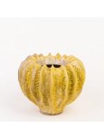Ručně tvarovaný květináč - žlutý M